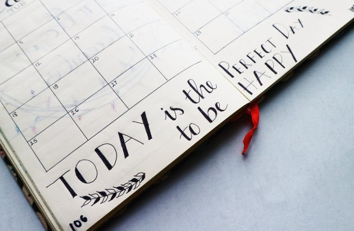 writings in a planner